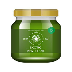 Jam kiwi. Glass jar with jam and configure. Vector illustration. Packaging collection. Label for jam. Bank realistic. Mock up glass jar with design label and logo.