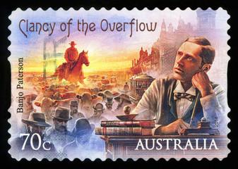 AUSTRALIA - CIRCA 2014: A stamp printed in Australia shows shows Mr.Banjo Paterson, circa 2014.