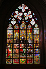 Colorful stained glass in cathedral of St. Michael and St. Gudula.