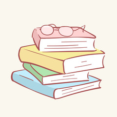Pile stack books glasses hand drawn style vector doodle design illustrations