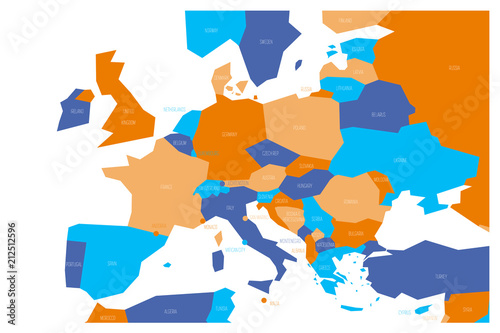 Political map of Central and Southern Europe. Simlified schematic ...