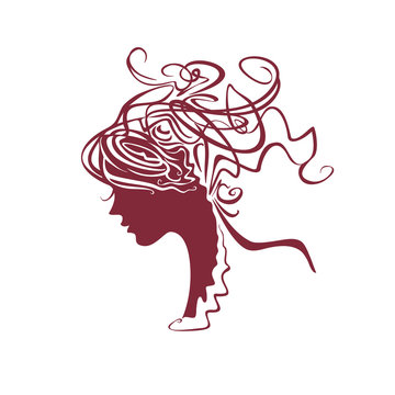 Curly hair. Modern silhouette profile of a female head with a deliberately careless hairdo. Baroque hair style.