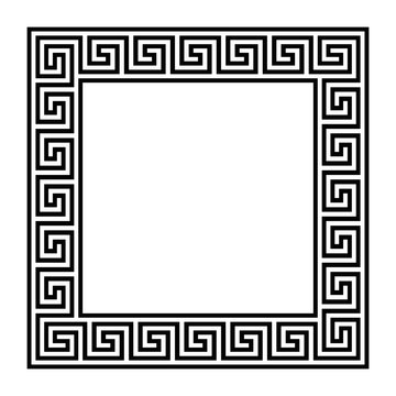 Square frame with seamless meander pattern. Meandros, a decorative border, constructed from continuous lines, shaped into a repeated motif. Greek fret or Greek key. Illustration over white. Vector.