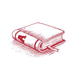 Ink Drawing of a Red Book Vector Illustration
