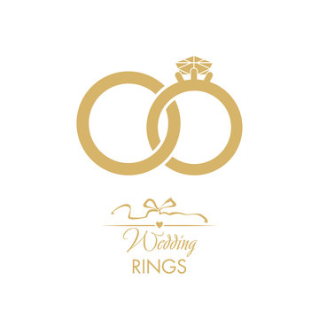 Wedding logo. Gold wedding rings. Attributes and decoration ceremony. The symbol of faith, love, care, happiness, mutual understanding, strength.