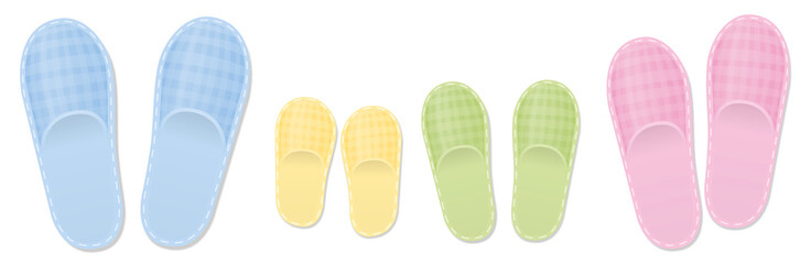Slippers family set for parents and children. Isolated vector illustration on white background.