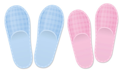 Bedroom slippers. Love couple set for him and her, father and mother or for the grandparents. Pink and blue vintage style footwear with checked gingham pattern. Isolated vector illustration on white.