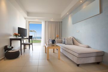 Interior of sea hotel bedroom