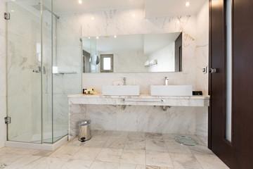 Interior of a hotel bathroom, marble stone
