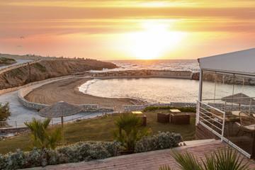 Sunset, sea  hotel resort