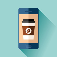 Ordering coffee via mobile phone. Cup in flat style on color background. Drink with you. Simple object. Vector design element for your business project