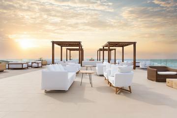 Sunset, sea  hotel resort, cafe bar