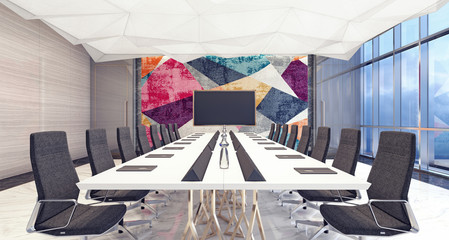 Modern conference and meeting room 3D Rendering
