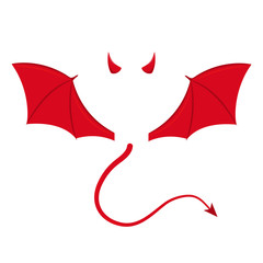 Devil wings, horns and tail. Vector. Isolated.
