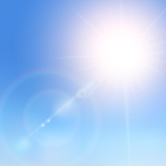 Realistic sunlight on a blue sky. Shining beige vector golden sun light effects. Flares and gleams sunlight. Vector Illustration