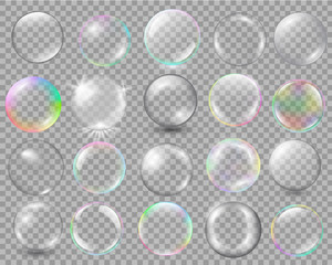 Big set of different spheres with glares and highlights.