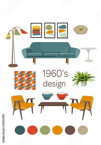vector collection set of mid century modern interior design