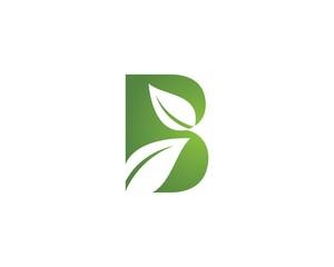 B letter logo with green leaf
