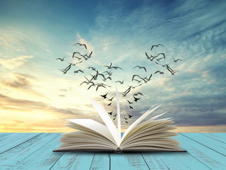 Open book on table with flying bird and evening sky background