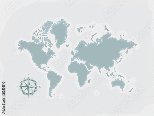 Retro world map with compass flat vector illustration eps10 stock retro world map with compass flat vector illustration eps10 gumiabroncs Image collections