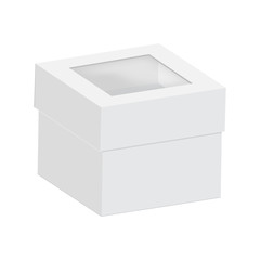 Blank of cardboard boxes with transparent window. Vector.