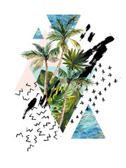 Photo sur Toile Empreintes Graphiques Watercolour palm leaf, tree painting in triangle, rough brush strokes, doodle, grunge, marble textures.