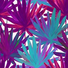 Foto op Canvas Grafische Prints Watercolour colorful fan palm leaves painting.