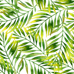 Simple watercolor palm leaves seamless pattern.