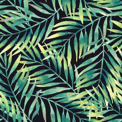 Aluminium Prints Graphic Prints Simple watercolor palm leaves seamless pattern.