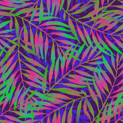 Hand painted tropical leaf in vivid rave colors on dark backgound.