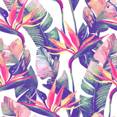 Fotobehang Paradijsvogel Exotic flowers, leaves in retro vanilla colors on pastel background.