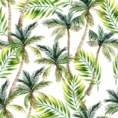 Watercolor palm tree and leaves seamless pattern. Tropical palm background.