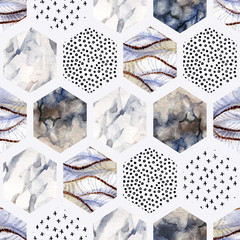 Watercolor hexagon with stripes, wave, curve, water color marble, grained, grunge, paper textures, minimal elements.
