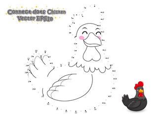 Connect The Dots and Draw Cute Cartoon Chicken. Educational Game for Kids. Vector Illustration.