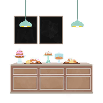 Bakery counter illustration with blank chalkboard messaging space. Interior vector illustration set.