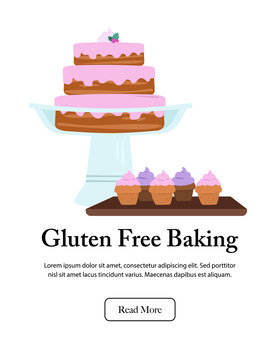 Tiered cake on pedestal with wooden tray of cupcakes. Bakery display. Isolated vector illustration.