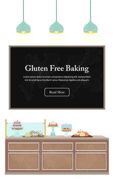 Bakery counter illustration with chalkboard messaging. Gluten free baking. Interior vector illustration set.
