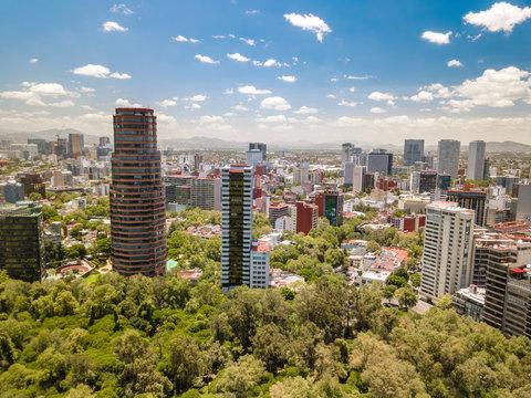 Mexico City - Chapultepec park aerial view