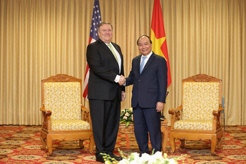 U.S. Secretary of State Pompeo shakes hands with Vietnam's PM Nguyen Xuan Phuc in Hanoi
