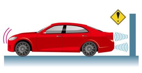 Foto op Canvas Cartoon cars 自動車のイラスト|自動ブレーキの概念イラスト|衝突回避イメージ セダン