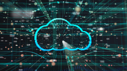 Wall Mural - illustration of cloud technology Futuristic computer digital Abstract  background