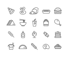 Simple Set of Fast Food vector thin line icons, Editable Stroke linear symbols.