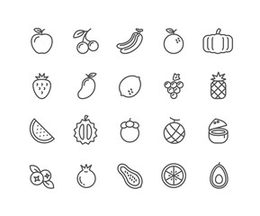 Simple Set of Fruits vector thin line icons, Editable Stroke linear symbols.