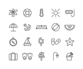 Simple Set of Summer vector thin line icons, Editable Stroke linear symbols.