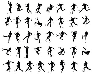 soccer or football players set silhouette