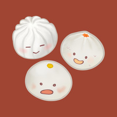 Cute Chinese steamed buns illustration