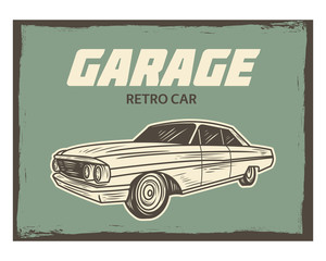 poster garage retro car classic old school vintage image