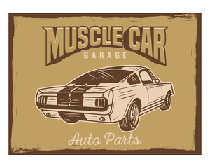 muscle car garage auto parts classic vintage retro image