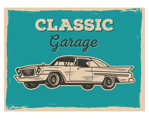 classic garage car transportation vintage retro image