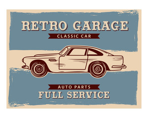 retro garage classic car auto parts full service vintage image